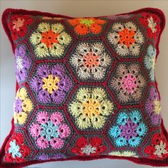Crochet african flower pillow