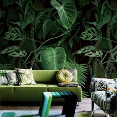 Dark Green Abstract Leaves Wallpaper, Wall Mural, Floral Wall Art,Wall Decal, Emerald Leaves Wall S