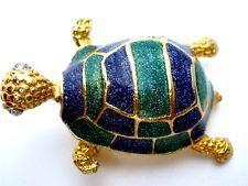 Vintage Turtle Enamel Brooch Blue Green Rhinestone Gold Figural Tortoise Estate