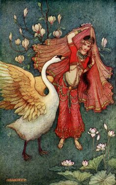 Damayanti and the Swan - Warwick Goble, Indian Myth and Legend