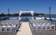 Noosa river wedding ceremony setup at Noosa Marina, Tewantin.
