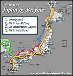 Travel route maps - Japan by Bicycle Route Map
