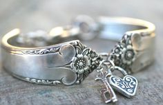 Heart Lock and Key Handmade Vintage Silverware Charm Bracelet on Etsy, $59.60 AUD