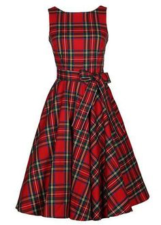 Belted Plaid Printed Sleeveless Red Dress on sale only US$33.00 now, buy cheap Belted Plaid Printed Sleeveless Red Dress at liligal.com