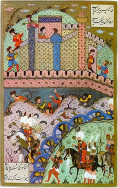 "Caliph Suleyman the Law Giver/the Magnificent Arrives to the Siege of Székesfehérvár (1543 CE) (Süleymanname (ca. 16th Century CE Ottoman Miniature Painting) -Matrakçı Nasuh) | Deli (""Crazy"") (Ottoman Hungarian Irregular Cavalry (Spotted Turban, Fur Coat)), Peyk (Emperor Messenger/Bodyguard (Golden Cap)), Solak (Emperor Bodyguard (Bow)), Silahtar (Emperor Bodyguard (Red Cap))"