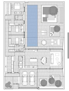 Beach House Floor Plans, Narrow House Plans, Coastal House Plans, Modern Floor Plans, Home Design Floor Plans, Modern House Plans, Bali House, Villa Plan, Architectural Floor Plans