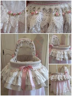 Last week I made this very girly Moses basket, I wanted to use my grey Jacquard material but didn't have enough to make neither hood nor sk...