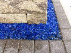Decorative Blue Glass for Indoor or Outdoor Garden Decoration. www.ie Decorative Gravel, Flower Beds, Indoor, Patio, Babies, Landscape, Garden, Glass, Home Decor