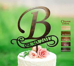 """This magnificent cake topper Letter B complement your memorable event.  We created it inspired love and positive energy.  Our stunning cake topper is an indispensable attribute of your Wedding cake or cake for Engagement.   <<< ITEM DETAILS >>>  > ¼ inches thick - the thickest and sturdiest high quality natural plywood. > Luxe paints.  <<< DIMENSIONS >>>  > Height 6,5 > Width 7,5 > 5"""" post allows for variable height so you can locate your top..."""