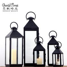 Barato Moda Soft time clássico do vintage de ferro mesa vela à prova de vento de vidro lanterna…