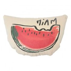 Annabel Kern Miam Watermelon Cushion `One size Composition : 100% Cotton twill, Filling: 100% polyester * Silkscreen printed * 25 x 18 cm. * Made in : France http://www.MightGet.com/january-2017-13/annabel-kern-miam-watermelon-cushion-one-size.asp