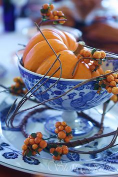 Blue and white china paired with orange-LOVE!