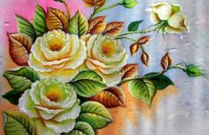 Como Pintar Rosas Brancas - Pintura em tecido!