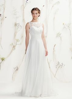 �Beaded Sabrina Venice lace neckline, chiffon cummerbund with V-back and sweep train complete this soft, slim A-line gown https://www.lillianwest.com/lillian_west/6401