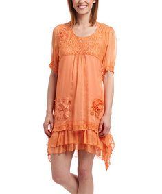 Look what I found on #zulily! Orange Silk-Blend Scoop Neck Shift Dress by Pretty Angel #zulilyfinds