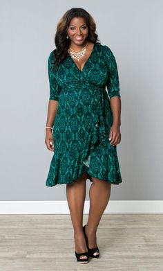 Try a classy green print this St. Patrick's Day with our plus size Flirty Flounce Wrap Dress. www.kiyonna.com #KiyonnaPlusYou #MadeintheUSA #Holiday