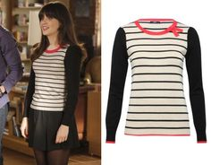 Jess Day wore a black and taupe stripe sweater with a red bow neck tie in New Girl season 1 episode 16 'Control'