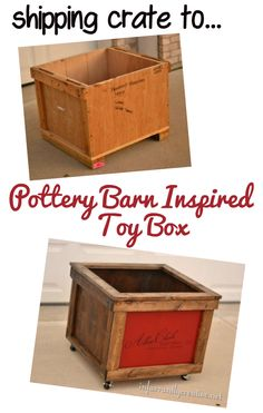 Pottery Barn Kids knock off rolling toy chest from a shipping crate