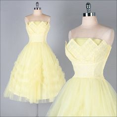 Vintage 1950s Dress  Yellow Tulle  Strapless  by millstreetvintage