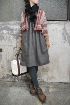 flannel dress + unstructured cardigan + wrist warmers