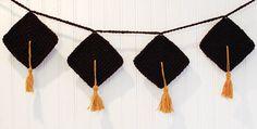 Crafty Graduation Decor ... Crochet Bunting Pattern | www.petalstopicots.com | #crochet #crafts #graduation #bunting #pattern