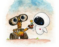 Wall-E and eve inspired watercolor print wall e eve, disney wallpaper, wall Cartoon Cartoon, Drawing Cartoon Characters, Character Drawing, Cartoon Drawings, Character Design, Cute Disney Wallpaper, Cute Cartoon Wallpapers, Cute Disney Drawings, Cute Drawings