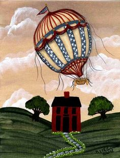 Americana Balloon I Primitive Folk Art, Make You Smile, Balloons, Places To Visit, Make It Yourself, Gallery, Pictures, Photos, Globes