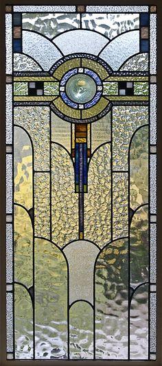 art deco glass ~ a panel in the front door or hall window