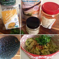 Avocado Pasta - Edamame & mung bean fettuccine, avocado, salt, pepper, savoury yeast flakes, chilli powder, coriander leaves...