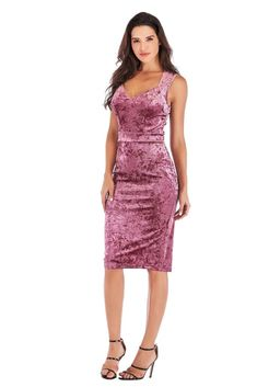 Pink Sleeveless Velvet Midi Cocktail Party Dresses Sizes Available: M, L Material: Polyester Neckline: V-Neck Sleeve Length: Sleeveless Dress Length: Knee-Length Pink Velvet Dress, Velvet Dresses, Pink Cocktail Dress, Curvy Dress, Jewelry Making Supplies, Formal Dresses, Party Dresses, Collection, Women