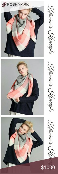 "Just in!!! Pink/Grey Plaid Blanket Scarf New boutique super soft, pink/grey, big plaid, oversized blanket scarf!!! 58"" x 58"" and 100% acrylic. Available in many other colors on my page. These will be $15 each! Save even more by bundling. ❤The item you see is the exact item you will receive. Shop with confidence! ♥Brand new boutique items ♥100% Smoke and pet free environment  ♥Same or next business day shipping ♥Bundle discounts 10% ❌No trades. Sorry ladies! Katherine's Koncepts  Accessories…"
