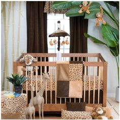 Animal print nursery ideas - cheetah, zebra, giraffe and leopard print baby room decor.