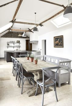 Very pretty brick/flint cottage in Norfolk Open plan kitchen/dining space with french windows to patio area Living room . Cottage, Home, Living Room With Fireplace, Country Cottage, Open Plan Kitchen, Norfolk Cottages, Cottage Interiors, Bedroom With Ensuite, Cottage Lighting