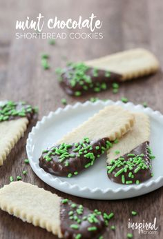 Mint Chocolate Shortbread Cookies #recipe from @inspiredbycharm