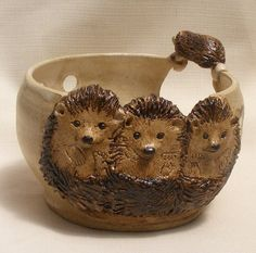 Stoneware Yarn bowl, Ceramic yarn bowl with three cute relief hedgehogs , knitting yarn bowl with three miniature hedgehogs