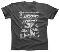 UFO Attack T-Shirt  Space Sci Fi Aliens Horror Retro by boredwalk