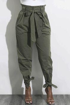7c6d6d3a6aa5 Women s Clothing Bowknot Loose Plain Pants. Pants fashion bottoms Fashion  Belts