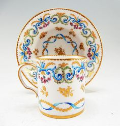 SUPERB SEVRES  SOFT PASTE PORCELAIN COFFEE CUP AND SAUCER 1783
