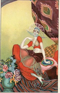 M Montedoro Art Deco Stylised Female Beautiful Italian PC | eBay