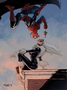 Spider-Man & Black Cat by Tim Seeley w/ colors by Rafa Corona - comicbooks Black Spiderman, Comics Spiderman, Spiderman Girl, Amazing Spiderman, Spiderman And Blackcat, Comics Love, Bd Comics, Comics Girls, Marvel Art