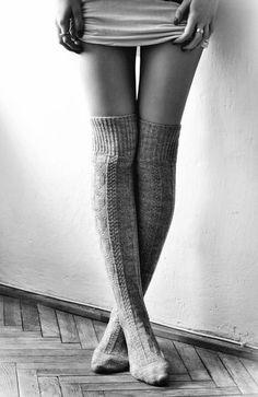 knit thigh-high socks
