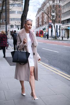 LFW Outfit Day 2: A Nude Palette | Inthefrow Marks and Spencer faux fur collar coat, victoria Beckham broderie anglaise white dress, gianvito Rossi court shoes in white and nude, Prada sunglasses, fendi 3jours tote