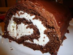 Giant HoHo - Chocolate roll cake that tastes like a giant HoHo. I made ...