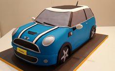 cake Mini cooper - Mini Cooper S Car Cake Tutorial, Fondant Figures Tutorial, Fondant Flower Cake, Fondant Bow, Fondant Cakes, Birthday Cakes For Men, Birthday Fun, Mini Cooper Cake, Military Cake