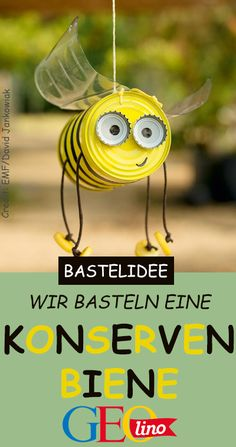 Konservenbiene basteln From an old preserve you can quickly and easily tinker a canned bee! The instructions from the EMF Verlag are on it GEOlino. Draußen-Projekte: Spaß an der Luft Tin Can Crafts, Fun Crafts, Diy And Crafts, Crafts For Kids, Upcycled Crafts, Kids Diy, Ideas Para Decorar Jardines, Garden Projects, Projects To Try