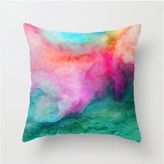 Watercolor Pillow Home Decor Watercolor Accents Watercolor Painting Abstract Watercolor Throw Pillow Cover Modern Home Decor Colorful Watercolor Walls, Watercolor Design, Abstract Watercolor, Watercolor Paintings, Painting Abstract, Watercolor Fabric, Home Decor Colors, Colorful Decor, Colorful Pillows
