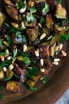 eggplant salad with parsley, sultanas + pine nuts