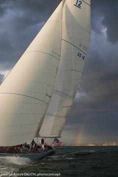 Marine Photography, 12M Yacht Columbia, Rhode Island, Newport, Rainbow, Narraganset Bay