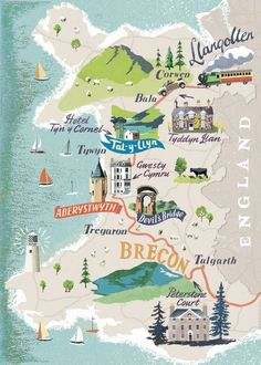 Travel illustration · map globe · illustrated maps · gales- britania - europa anna simmons - map of wales # Wales Map, Travel Illustration, Flat Illustration, Country Maps, Map Globe, Voyage Europe, Map Design, City Maps, Travel Maps