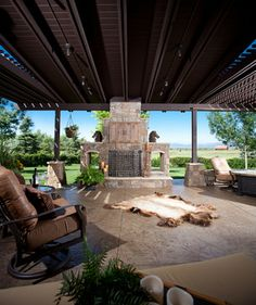 agreeable modern outdoor kitchen. Substantial outdoor fireplace in this living space designed and  built by HighCraft contemporary patio designs Room Agreeable Modern Outdoor